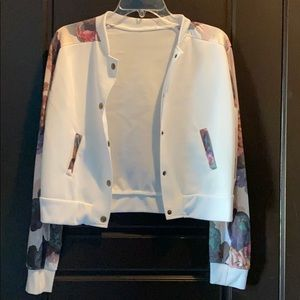Floral pattern bomber jacket
